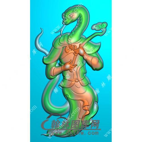 蛇头人身挂件精雕图(GS-012)