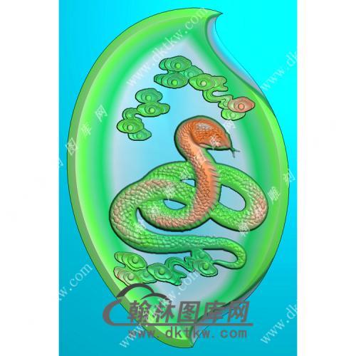 树叶形蛇挂件精雕图(GS-008)