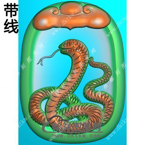双面如意牌头蛇挂件带线精雕图(GS-048)