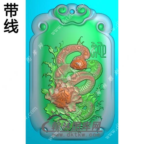 双面生肖蛇挂件带线精雕图(GS-030)
