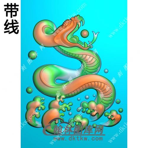 水浪生肖蛇挂件带线精雕图(GS-028)