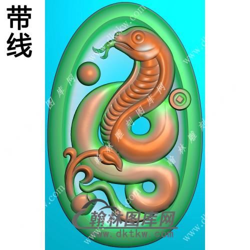 椭圆凹底蛇挂件带线精雕图(GS-022)