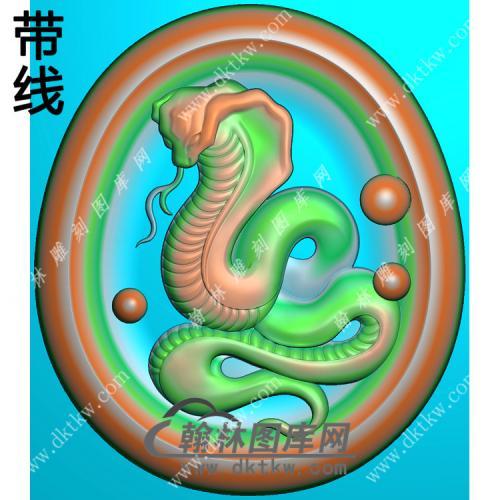 椭圆凹底蛇挂件带线精雕图(GS-042)