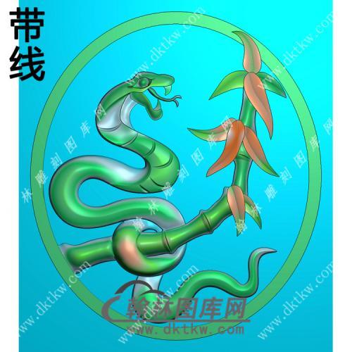 椭圆生肖蛇挂件带线精雕图(GS-033)