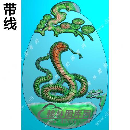 椭圆松树牌头生肖蛇挂件精雕图(GS-041)