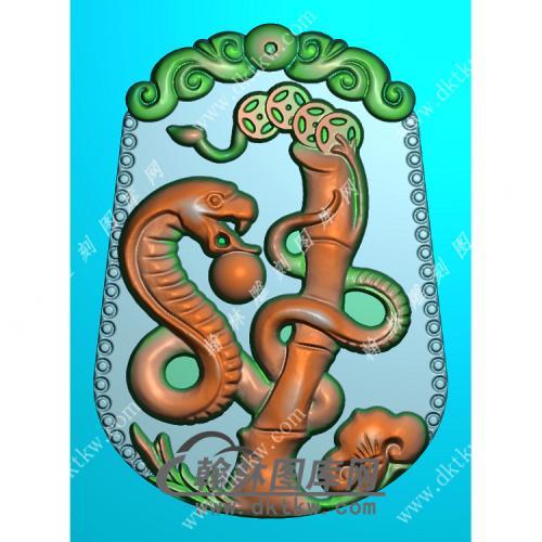 洋花牌头蛇挂件扫描图精雕图(GS-015)