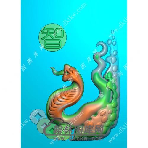 玉雕蛇挂件精雕图(GS-017)