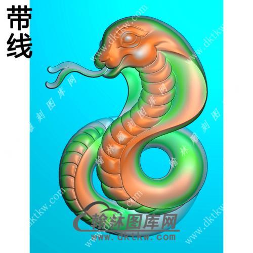 玉雕生肖蛇牌挂件带线精雕图(GS-051)