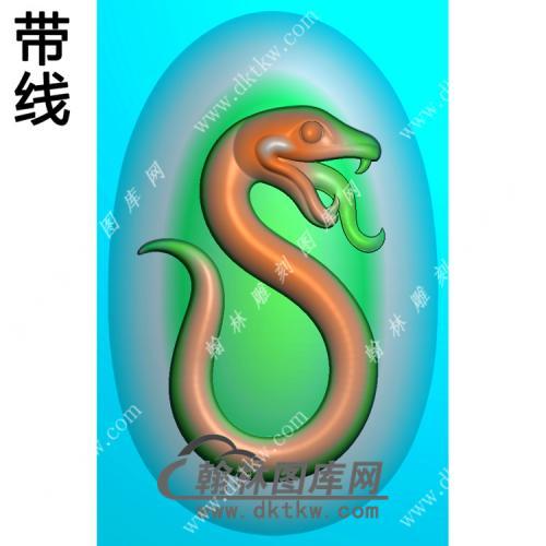 玉雕椭圆蛇挂件带线精雕图(GS-049)