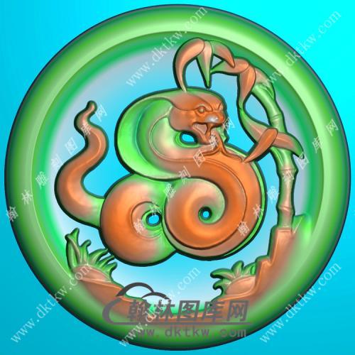圆形凹底生肖蛇挂件精雕图(GS-031)