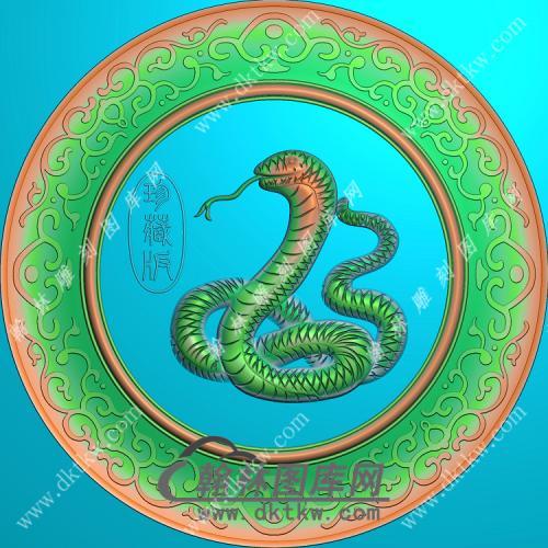 圆形蛇挂件精雕图(GS-006)