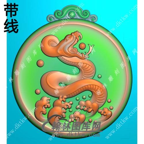 圆形蛇牌挂件带线精雕图(GS-023)