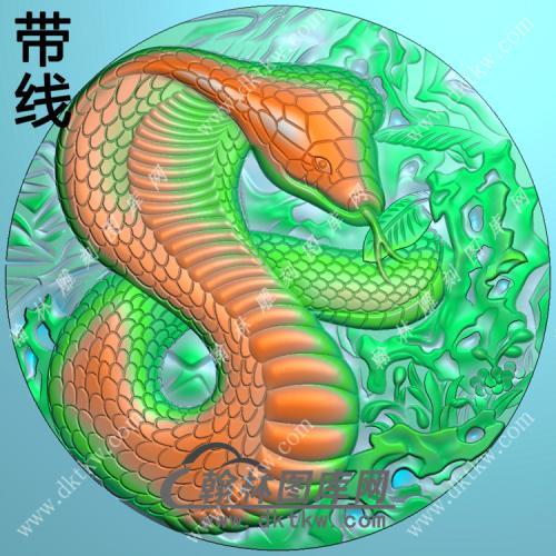 圆形蛇牌挂件带线精雕图(GS-034)