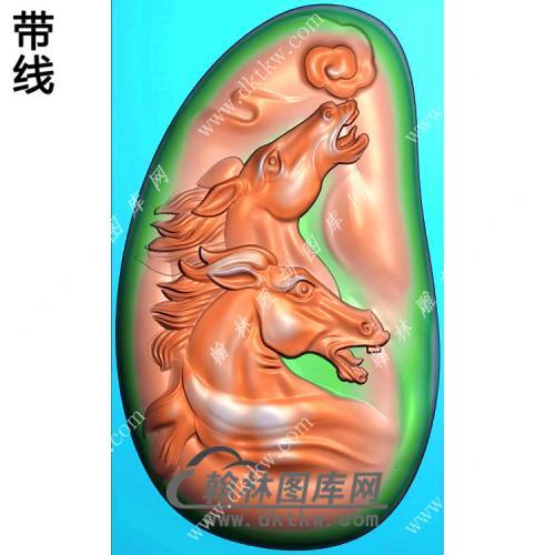 玉雕随形双马头挂件带线精雕图(GM-199)