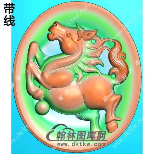 玉雕椭圆凹底马挂件带线精雕图(GM-158)