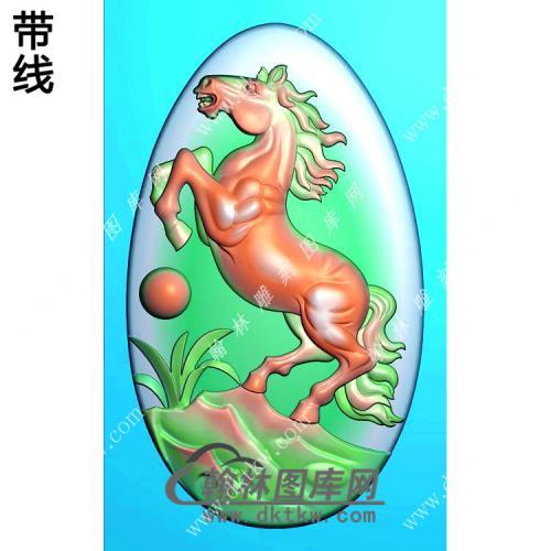玉雕椭圆生肖立马挂件带线精雕图(GM-185)