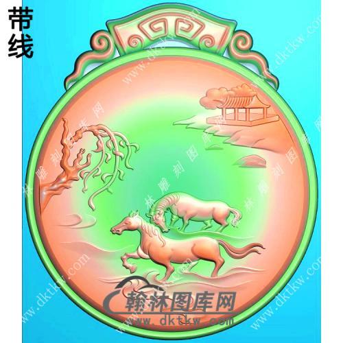 玉雕圆形仿古牌头山水双马挂件带线精雕图(GM-182)