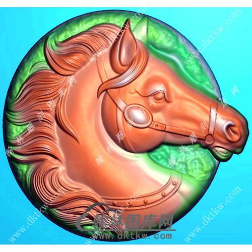 玉雕圆形马头挂件精雕图(GM-200)