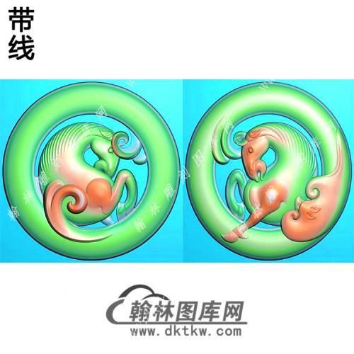 玉雕圆形双面镂空马挂件带线精雕图(GM-174)