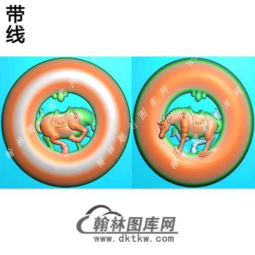玉雕圆形镂空马挂件带线精雕图(GM-194)