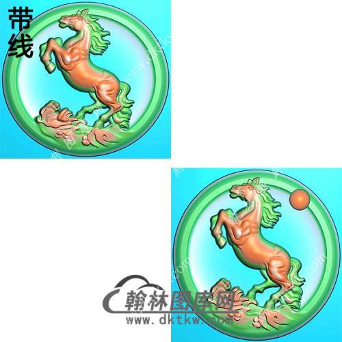 圆形凹底山水马挂件带线精雕图(GM-127)
