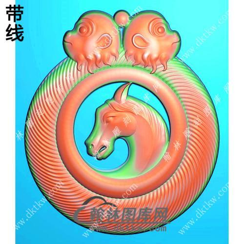 圆形猴头牌头马头挂件带线精雕图(GM-117)