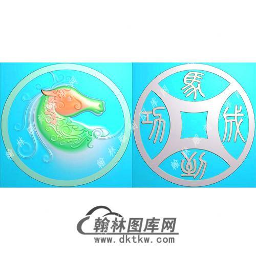 圆形马头挂件精雕图(GM-074)