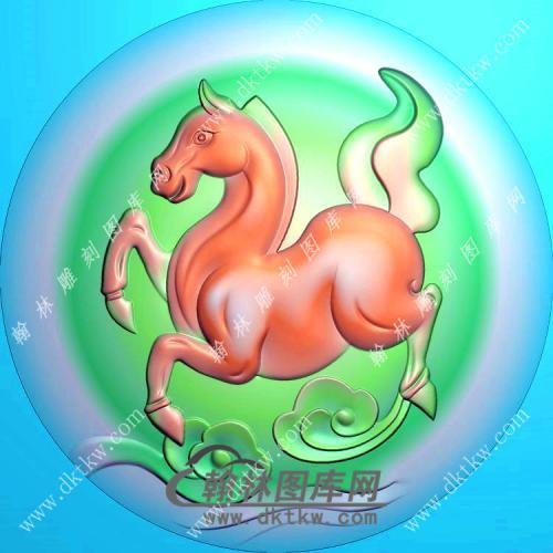 圆形生肖马挂件精雕图(GM-072)