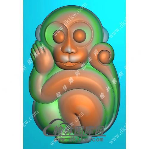 生肖猴子挂件精雕图(GHZ-051)