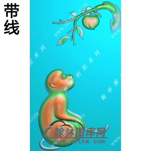 寿桃猴子挂件带线精雕图(GHZ-049)