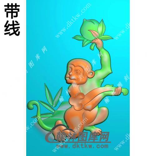 寿桃如意猴子挂件带线精雕图(GHZ-030)