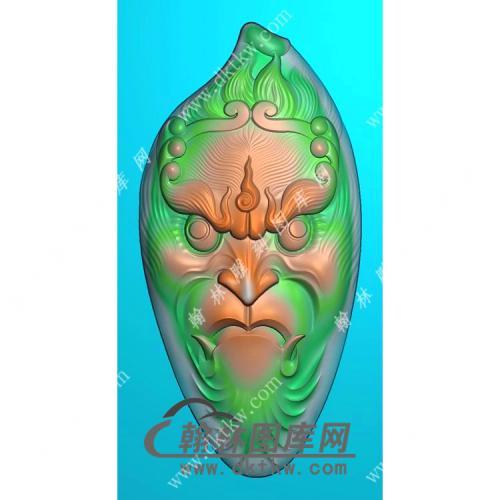 随形猴头挂件精雕图(GHZ-031)