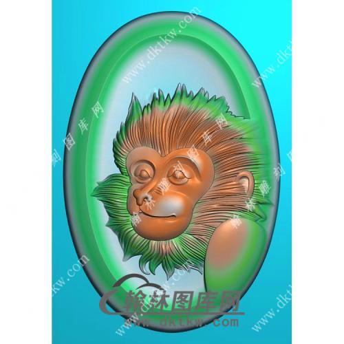 椭圆凹底猴头挂件精雕图(GHZ-098)
