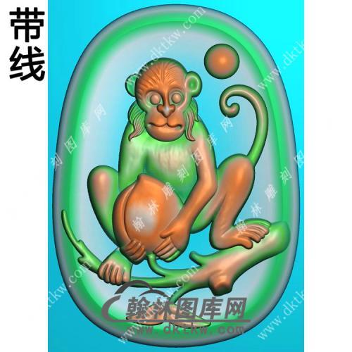 椭圆凹底生肖猴挂件带线精雕图(GHZ-111)