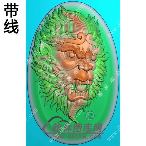 椭圆猴头挂件带线精雕图(GHZ-034)