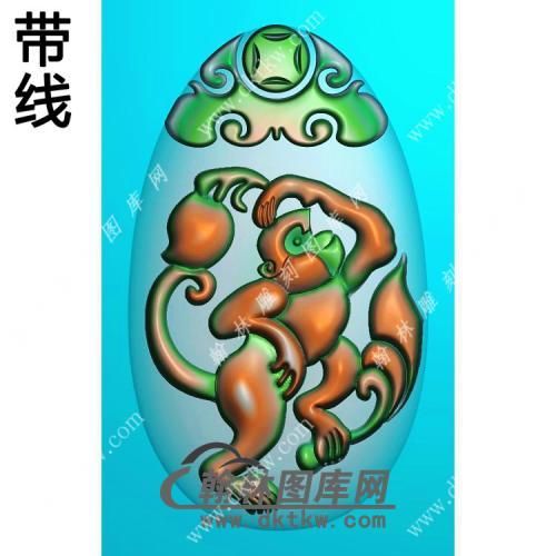 椭圆猴子挂件带线精雕图(GHZ-039)
