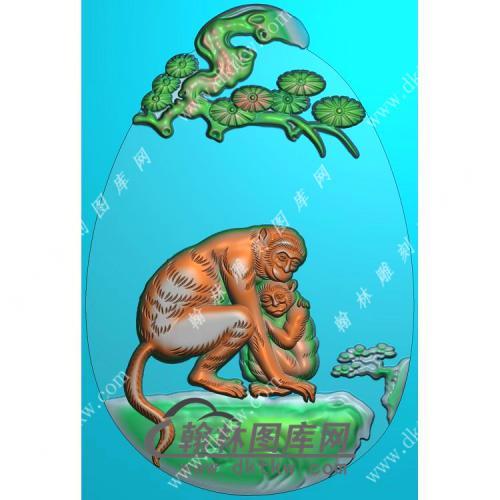 椭圆松树牌头生肖猴挂件精雕图(GHZ-108)