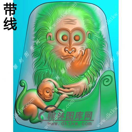 玉雕猴子挂件带线精雕图(GHZ-058)