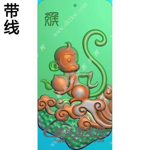 玉雕猴子挂件带线精雕图(GHZ-091)