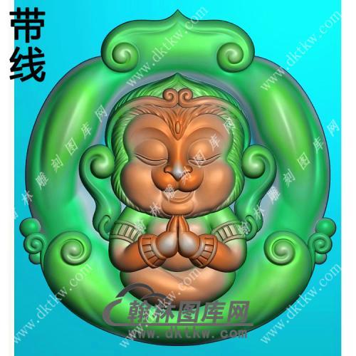 玉雕随形猴子挂件带线精雕图(GHZ-081)