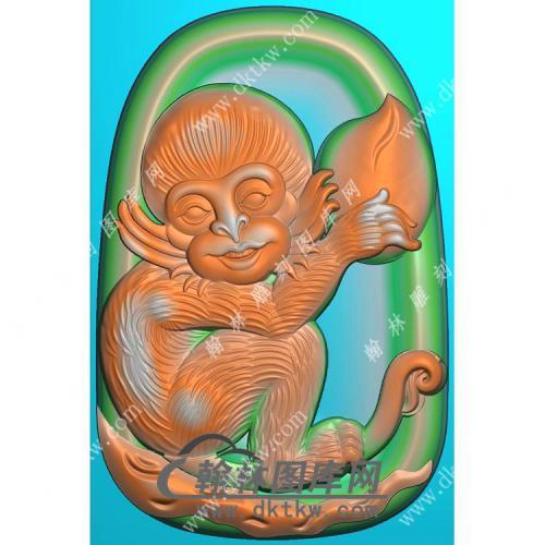 玉雕椭圆凹底猴子挂件精雕图(GHZ-072)