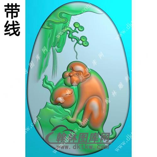 玉雕椭圆寿桃猴子挂件带线精雕图(GHZ-112)