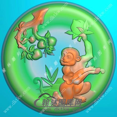 玉雕圆形凹底猴子挂件精雕图(GHZ-082)