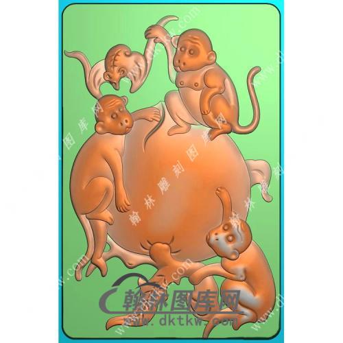 玉雕蝙蝠寿桃猴子46牌挂件精雕图(GHZ-073)