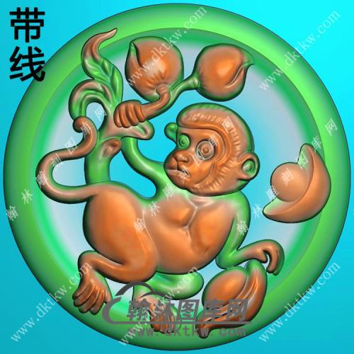 圆形凹底猴子挂件带线精雕图(GHZ-069)