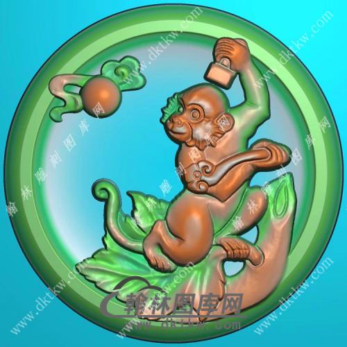 圆形凹底生肖猴挂件精雕图(GHZ-061)