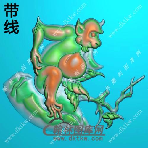 圆形寿桃猴子挂件带线精雕图(GHZ-092)