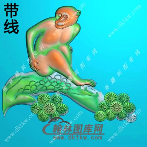 圆形松树猴子挂件带线精雕图(GHZ-093)