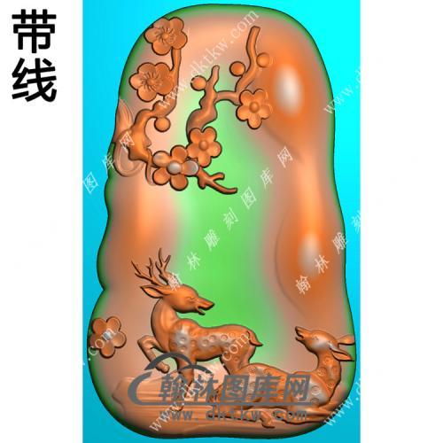 梅花双鹿挂件带线精雕图(GL-029)