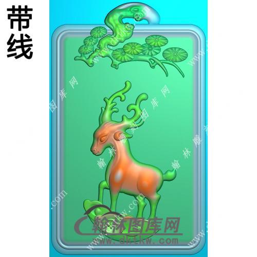 松树牌头鹿挂件带线精雕图(GL-017)